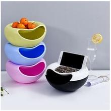 Ленивая закуска Миска пластиковая двухслойная коробка для хранения еды для перекуса креативная форма чаша фруктовые чашки-тарелки с держателем телефона для tv d4