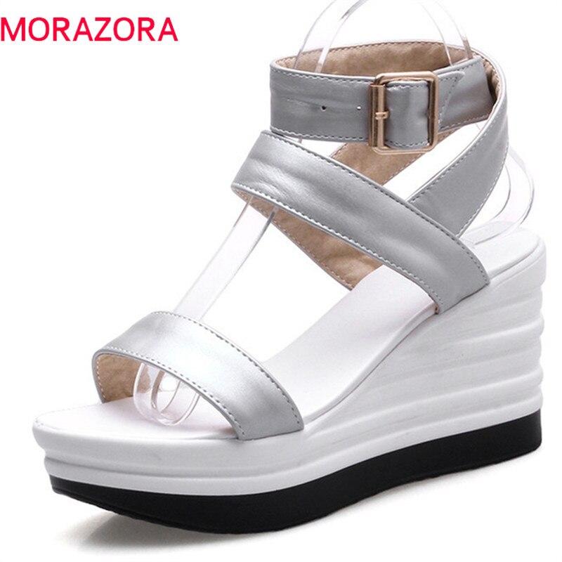 0ce435051 MORAZORA 2018 chegam novas mulheres sandálias clássico elegante doce peep  toe sapatos da moda simples fivela