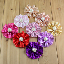 Hot New Style Shinny Flowers 20C 3.15 Inch 100Pcs/lot Sequin Head Flower For Kids Hair Beauty Flat Back DIY Flower TH66