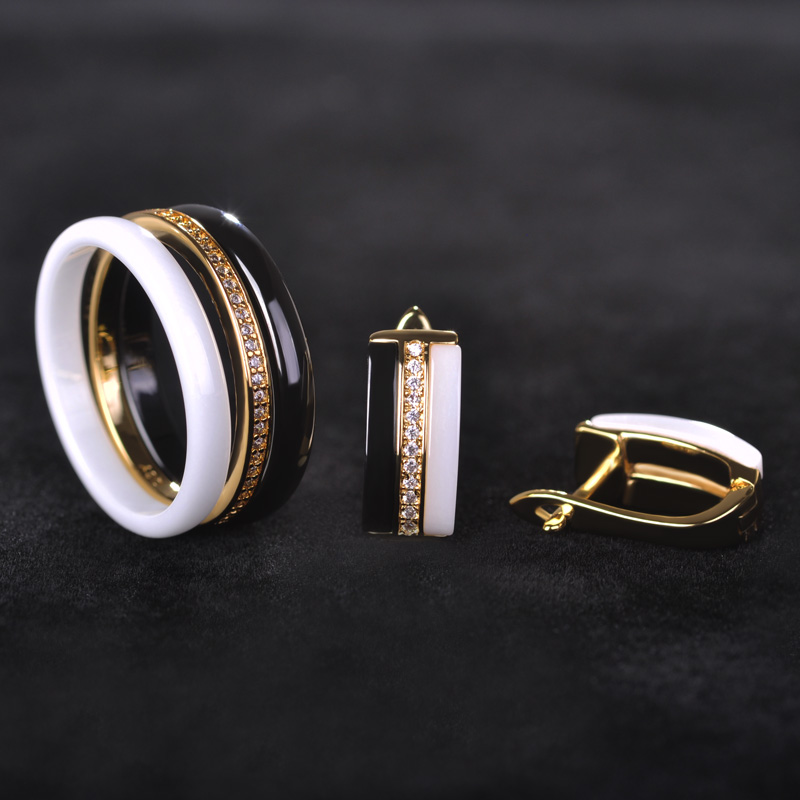 Dazz Shinning Three Lines Ceramics Jewelry Sets Earrings Ring Lady Women Black White Brincos Wedding Bridal Schmuck Bijoux