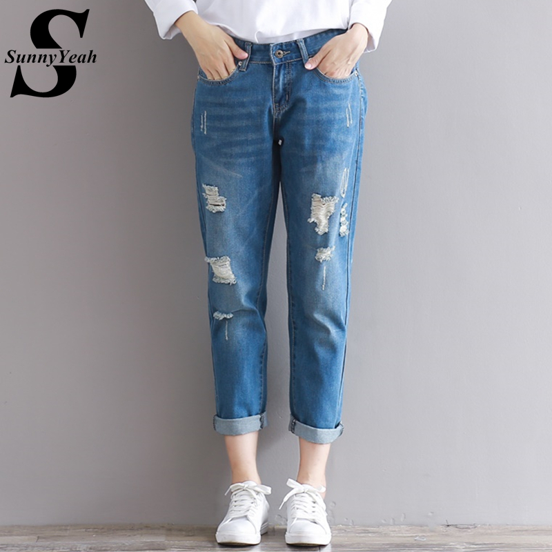 SunnyYeah Pants Jeans Woman Casual Trousers Jeans for Women Ankle-Length Vintage Hole Boyfriend Ripped Jeans Female Plus Size lxmsth 26 40 large size women jeans 2017 new arrival hole high waist loose jeans woman casual ankle length pants ripped trousers