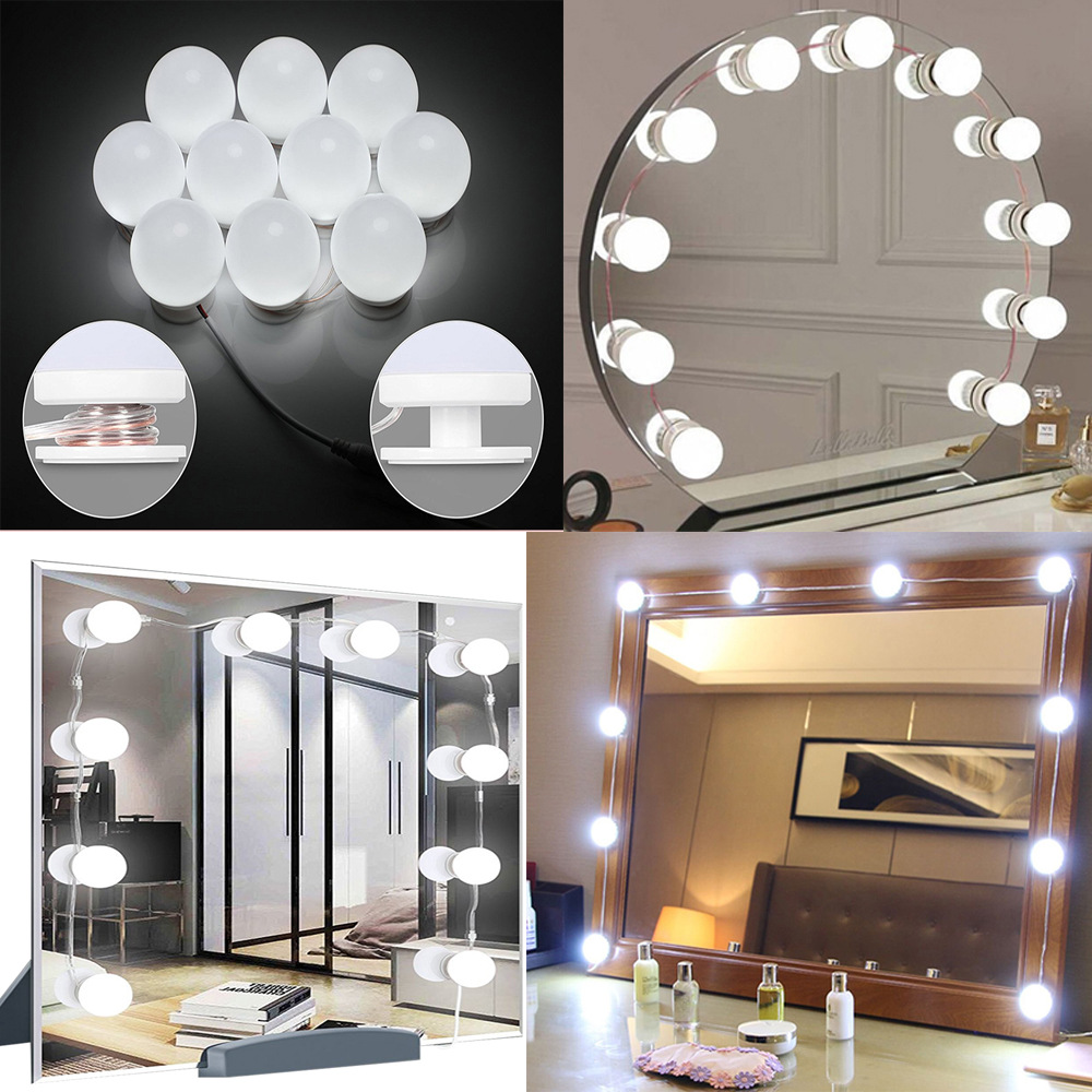 USB LED 12V Makeup Lamp 10 Bulbs Kit For Dressing Table Stepless Dimmable Hollywood Vanity Mirror Light 8W(China)