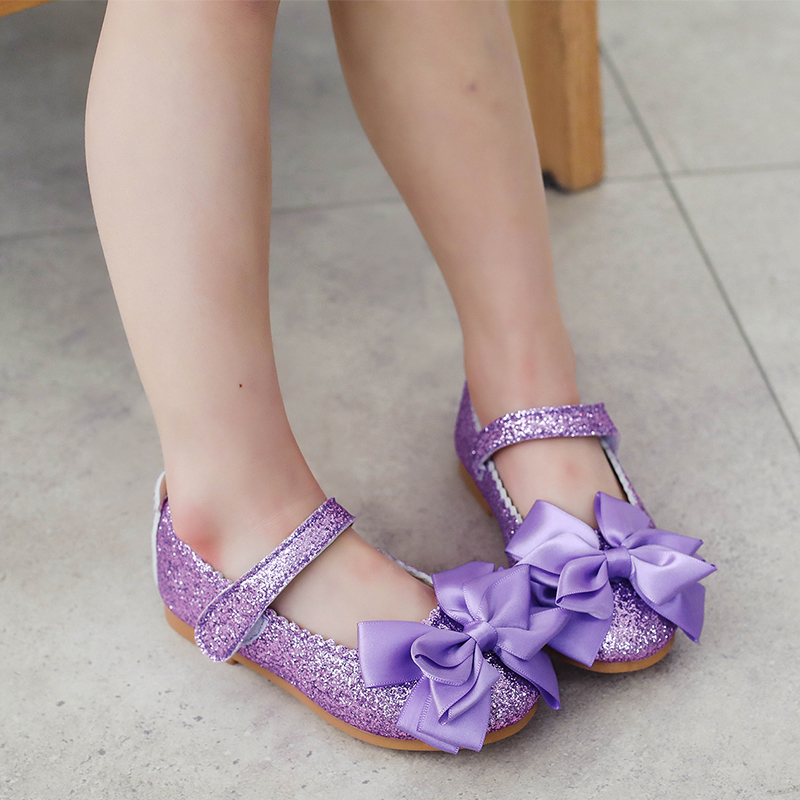 Flowers Children Kids Spring Pettigirl Sequins Baby Dress Shoes For Girls Purple Gold Party Princess Shoes New 2018 6 -14 Yrs 26