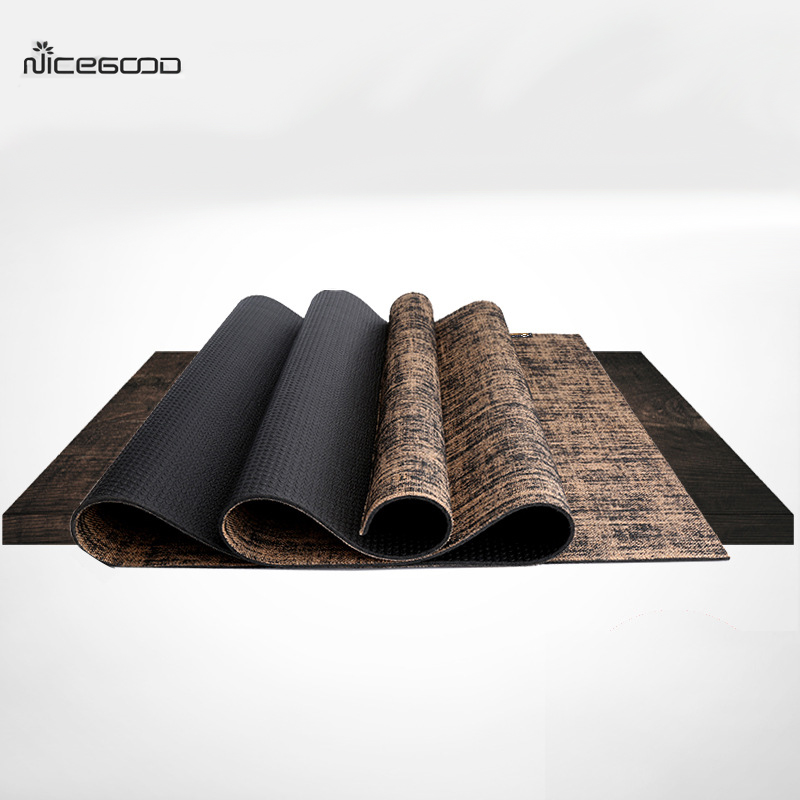 NICEGOOD Linen Yoga Mat Widen 183*65cm*5mm Thickness Non Slip Eco-friendly PVC Exercise Mats for Fitness Body Building Yoga Pad цена