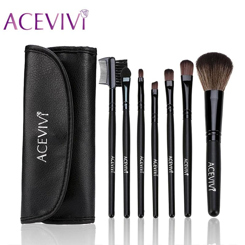 ACEVIVI 7Pcs Professional Cosmetic Facial Make up Brush Kit Makeup Brushes Tools Set + Black Pouch Bag High Quality Makeup Tools make up for you 10 in 1 cosmetic makeup brush tools set w carrying bag black