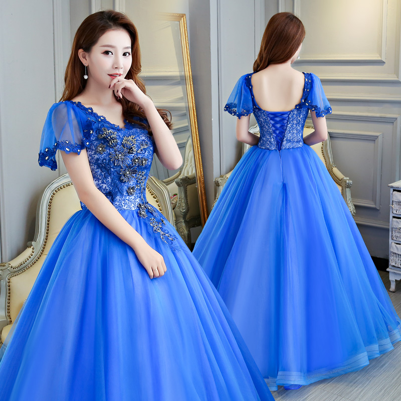 Vestidos De Quinceaneras Blue V Neck Quinceanera Dresses Sweet 16 Ball Gown Open Back Tulle Cap Sleeve Dress Plus Size
