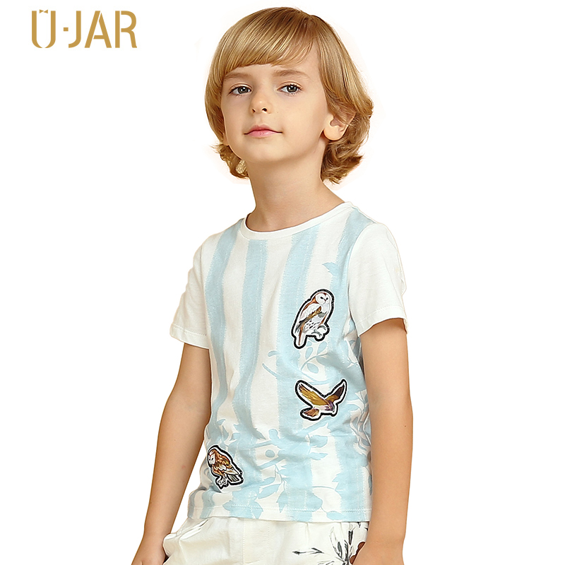 UJAR Children's Summer Short Sleeve Striped T-shirt Printed O-Neck Pure Cotton Boys Sports Shirts U52B601 beanbus summer children s t shirts for boys casual t shirt o neck printing cartoon cotton boys short sleeved t shirt boy clothes