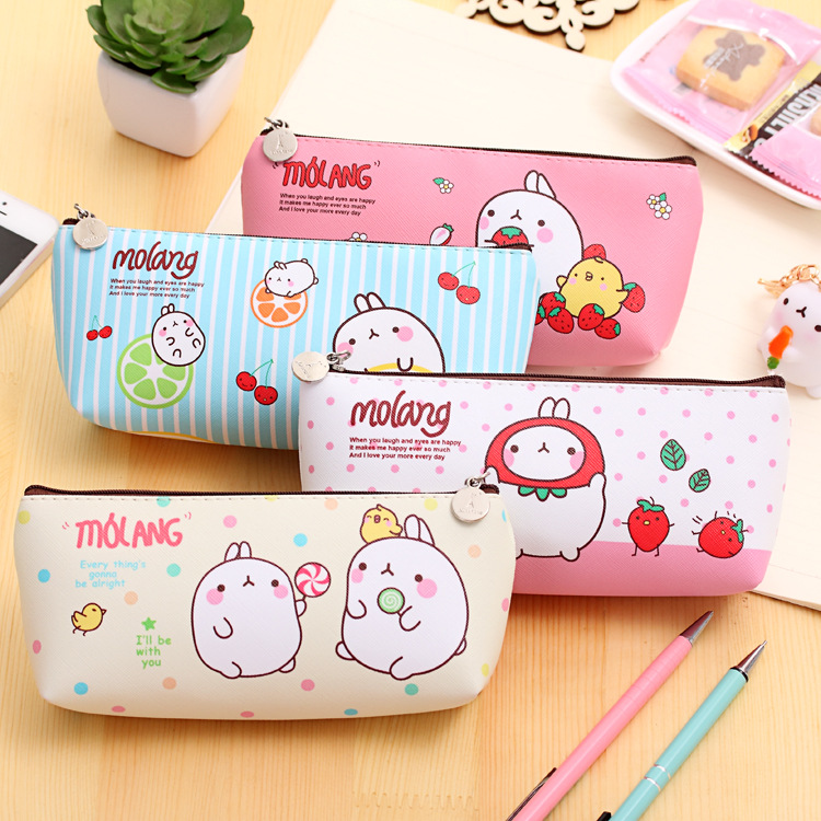 Cute kawaii molang rabbit pu leather pen case pencil bag box cute kawaii molang rabbit pu leather pen case pencil bag box stationery storage school office supplies student gift gumiabroncs Images