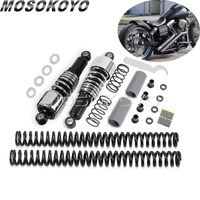 Motorcycle Chrome 10 Rear Shock Absorbers for Harley Dyna FXD Street Bob 2006 2017 Lowering Slammer Kit Rear Suspension