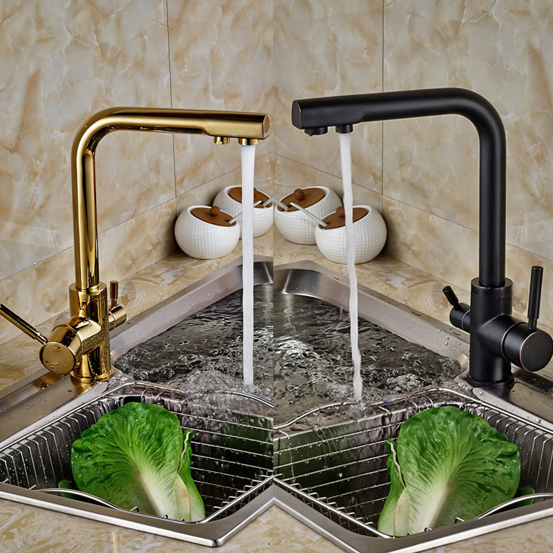 ФОТО Brand New Black Or Golden Pure Water Kitchen Faucet 3 Way Double Function Filler Kitchen Faucet Three Way Tap For Water Filter