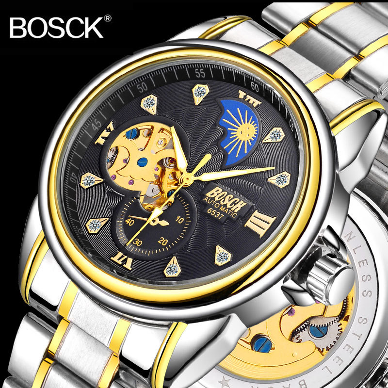 Automatic Skeleton Mechanical Watches Self Wind Hollow Wristwatch Male Clock Stainless Steel
