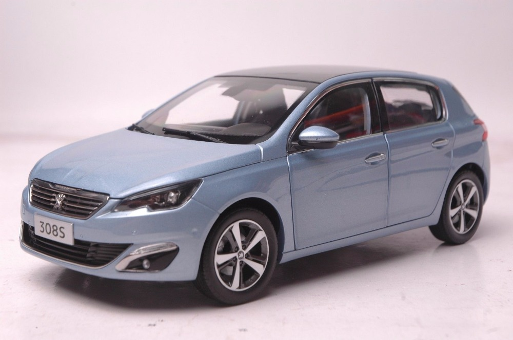 1:18 Diecast Model for Peugeot 308S 2015 Blue Hatchback Alloy Toy Car Miniature Collection Gift 308 blue 2014 1 18 mazda 3 axela hatchback diecast model car mini model car kits 2 colors available limitied edition hatch back