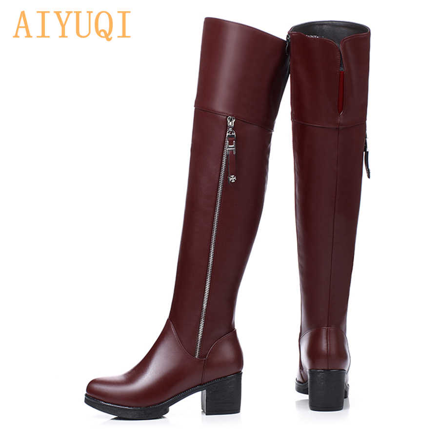 AIYUQI Kadınlar diz çizmeler Üzerinde Hakiki Deri Kadın Ayakkabı kalın Sıcak Kış uzun Çizmeler Moda Yüksek Topuk Kadın Motosiklet Botları