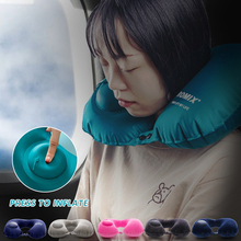 U-Shape Inflatable Travel Pillow Neck Pillow Comfortable Sleeping Portable Cushion Neck Cushion Airplane Inflatable Camp Tools