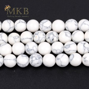 Круглый белый бирюзовый камень, бисер для изготовления ювелирных изделий, 4, 6, 8, 10, 12 мм, Аксессуары для браслета и ожерелий, оптовая продажа
