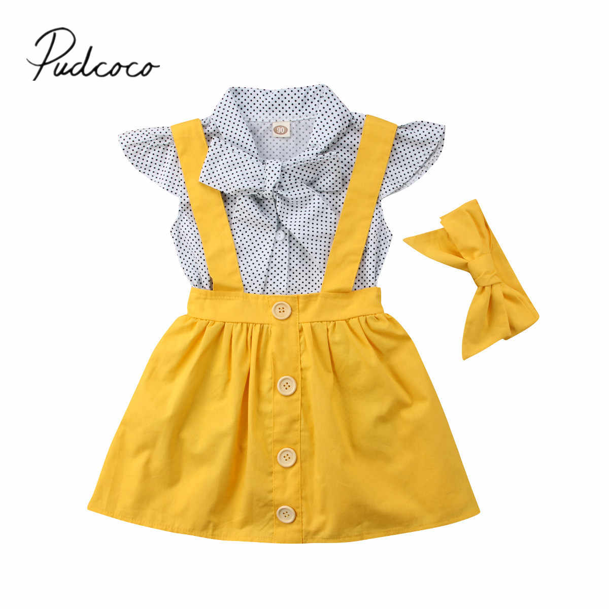2018 Brand New Summer Fashion Lovely Toddler Baby Girls Clothes Sets 3PCS Bow Dot Print Shirts Overalls Skirt+Headband Outfits