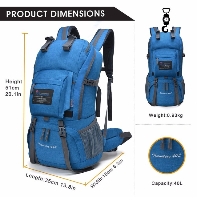 40L Internal Frame Climbing Bag Waterproof Terylene Material Unisex Travel  Camping Sport Outdoor Backpack with Rain Cover