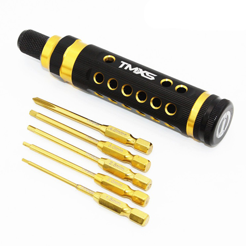 Free shipping TMXS double color anode model tool screwdriver combination of six corner cross 6.35MM inner core handle set tool bosi tool 7 labor saving combination plier with double color tpr handle