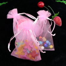 Hot Selling Wholesale 500pcs/lot 7*9cm Package Pink Wedding Candy Organza Bag Gift Jewelry Packaging Bags Wrapping Packing