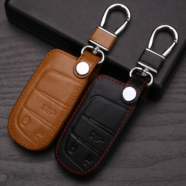 Leather Car key case shell cover  for Dodge JCUV dart journey For Jeep wrangler Grand Cherokee compass  Patriot Chrysler