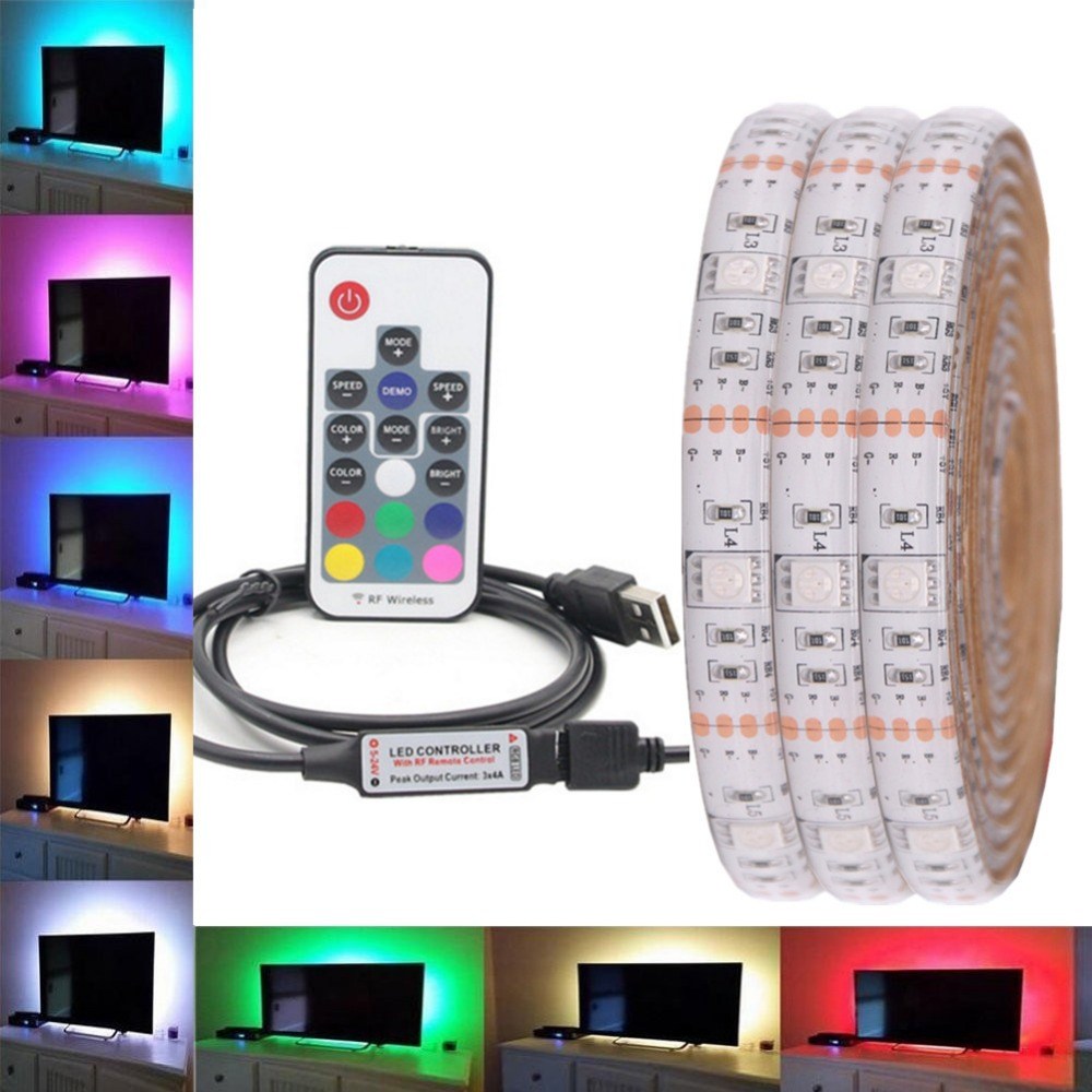 цена RGB LED Strip Waterproof 5050 DC 5V USB LED Light Strips Flexible bias Lighting 5050 1m 2m 3m 4m 5m add Remote For TV Backlight