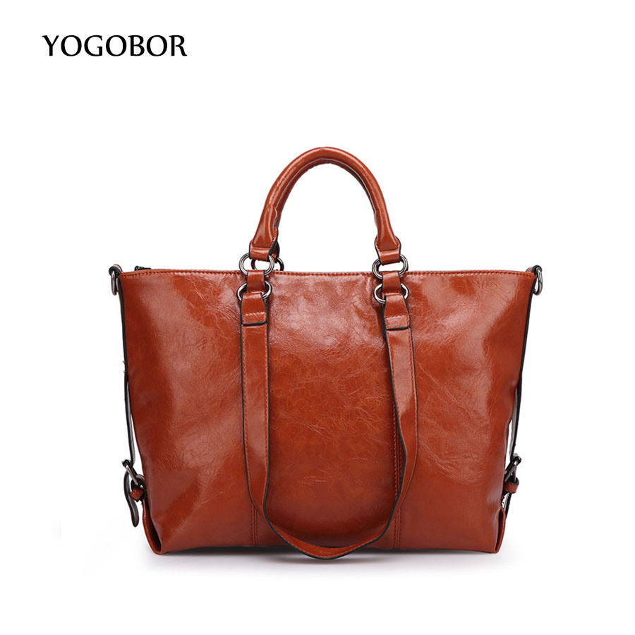 ФОТО YOGOBOR New Simple Fashion Famous Designers Brand Handbags Large Women Bags Solid PU LEATHER BAGS/Shoulder Tote Bags Big Brown