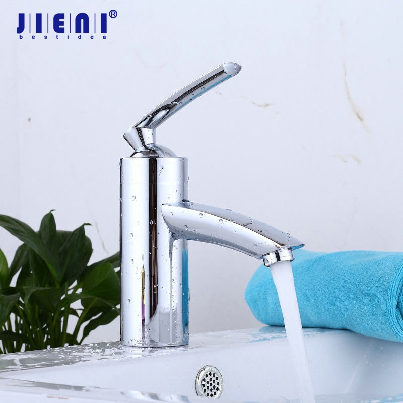 JIENI US Chrome Polished Bathroom Basin Faucet small Single Handle with Vanity Sink Bathroom Mixer water Tap