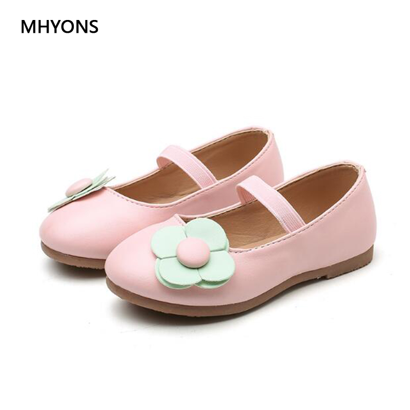 MHYONS New Multi-color Fashion Shoes Girls Princess Shoes Flowers Cute Girl PU Waterproof Soft Casual Shoes Size 21-30