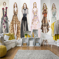 Beibehang Large Custom Made Mural Wallpaper For Any Size Fashion Girl Clothing Store Barber Shop Background