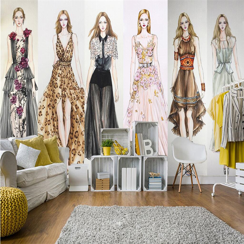 beibehang Large custom-made mural wallpaper for any size fashion girl clothing store Barber shop background papel de parede beibehang 3d wallpaper fashion clothing