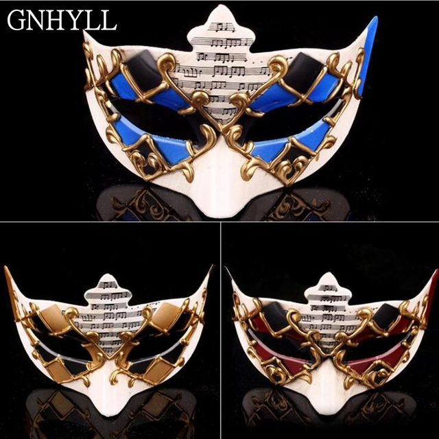 US $6 63 22% OFF|GNHYLL Retro Handmade Resin Glitter Notes Phantom Opera  Italian Venetian Masquerade Halloween Dance Party Mask-in Party Masks from