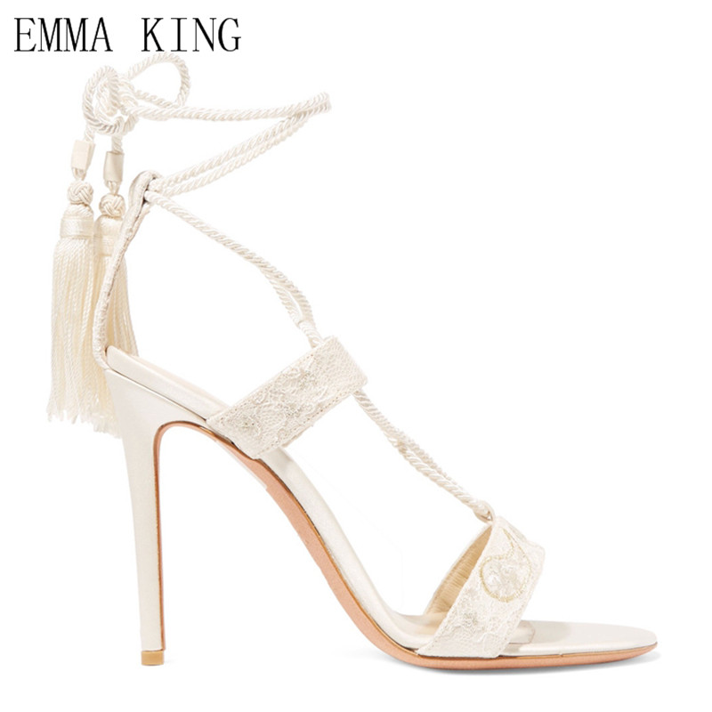 White Lace up Embroidery High Heel Sandals For Women Ladies With Concise Style Tassels Cross Strap Stiletto Open Toe Shoes Women