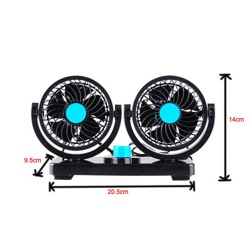 Adjustable Speed 24V DC Air Ventiladores Para Vehiculos CAR auto fans Black 360 Degree Rotating HX-T303