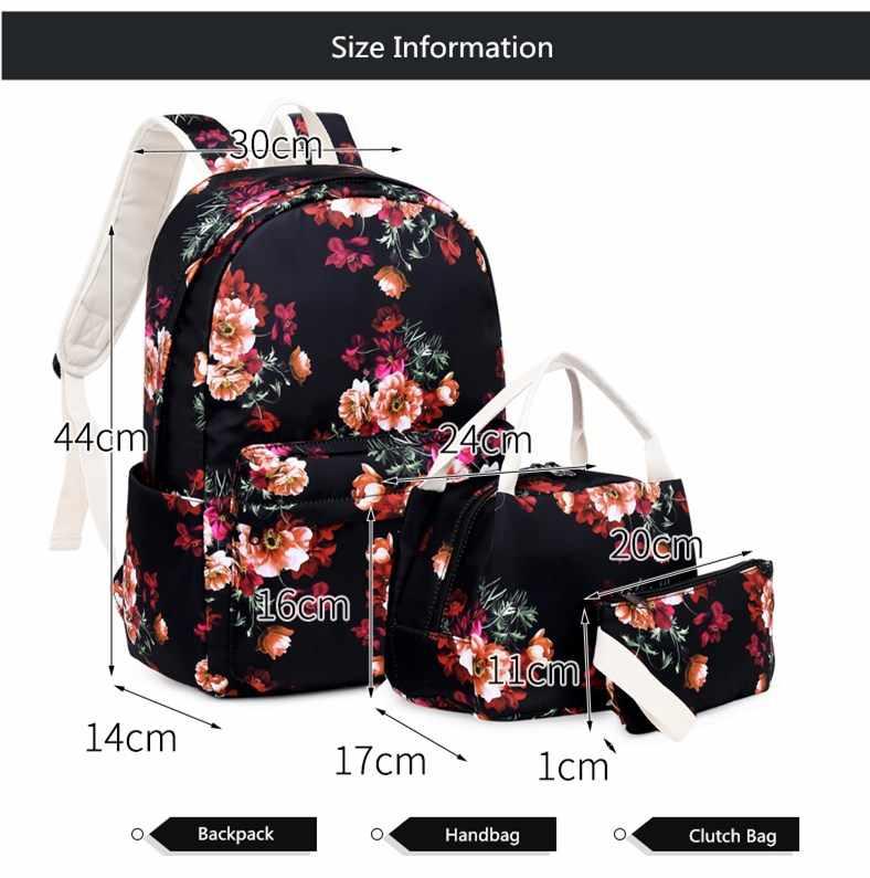 Женский комплект с принтом FengDong, черный набор из трех предметов: школьного рюкзака, сумки и сумочки-клатч с принтом с изображением вишенок, осень 2019