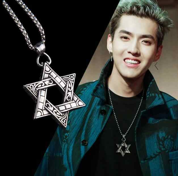 Six-pointed Star of David Pendant Necklace  Double-sided Retro Titanium Steel Punk  Jewelry for Men Boys