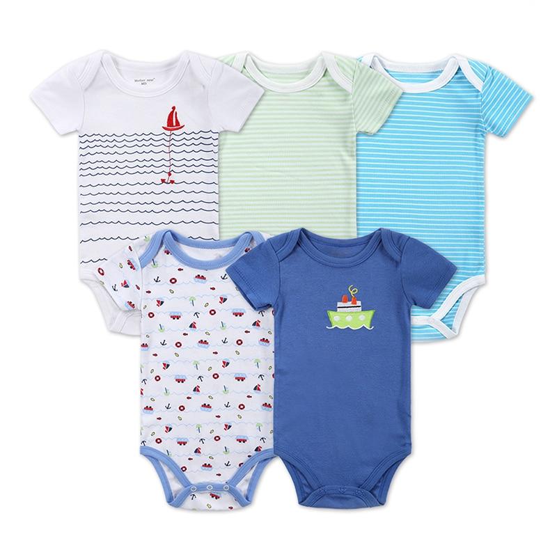 Mother Nest Nyfödd 100% Cotton 5 Pieces / lot Baby Print Bodysuit - Babykläder
