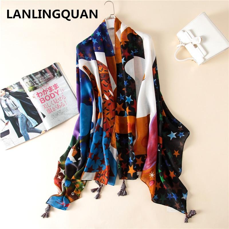Desigual cachecol bandana echarpe xale moda Estilo de impressão 2018  Mulheres de luxo da marca Designer de Pashmina algodão Animais xales hijab 43629209625b