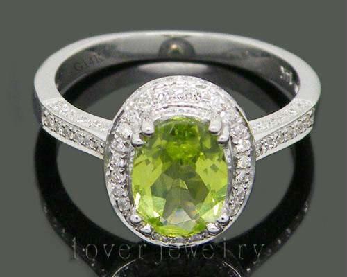 Bague de mariage péridot en diamant naturel 3.30Ct, bague péridot en or blanc massif 14 K/585 pour femme