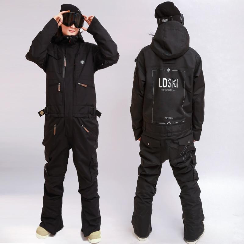 Womens Snow Suit One Piece >> Fashion Overall Men Women Ski Suit Snowboard Jacket Ski