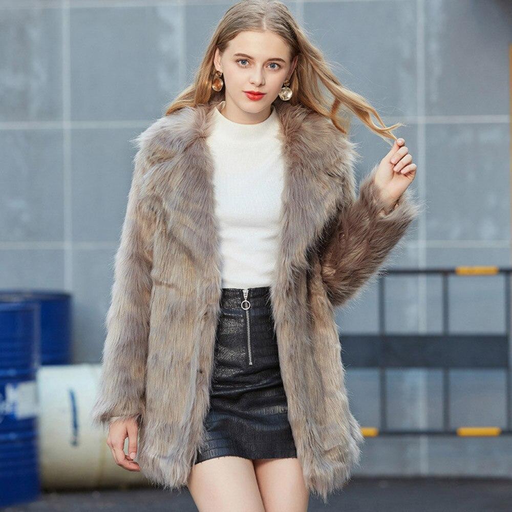Fox Mode Femme Marron Manteau D'hiver 2018 À Col Longues Survêtement Pour Costume Faux Tops Manches Chaud Femmes Furry qFxSBAw