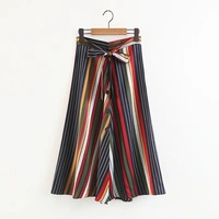 2018 New Summer Trend Skirt Loose Striped Stitching Floral High Street Fashion Girls Pleated Long Skirts