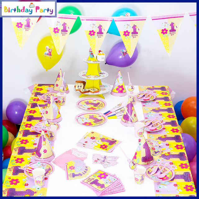 90pcs Set Girl Birthday Party Decorations Kids Event Supplies 6 People Items Baby One Year