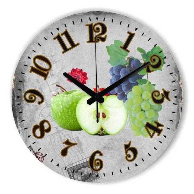 Del Hogar moderno Reloj de Pared 3D Frutas Dining Hall pared ...