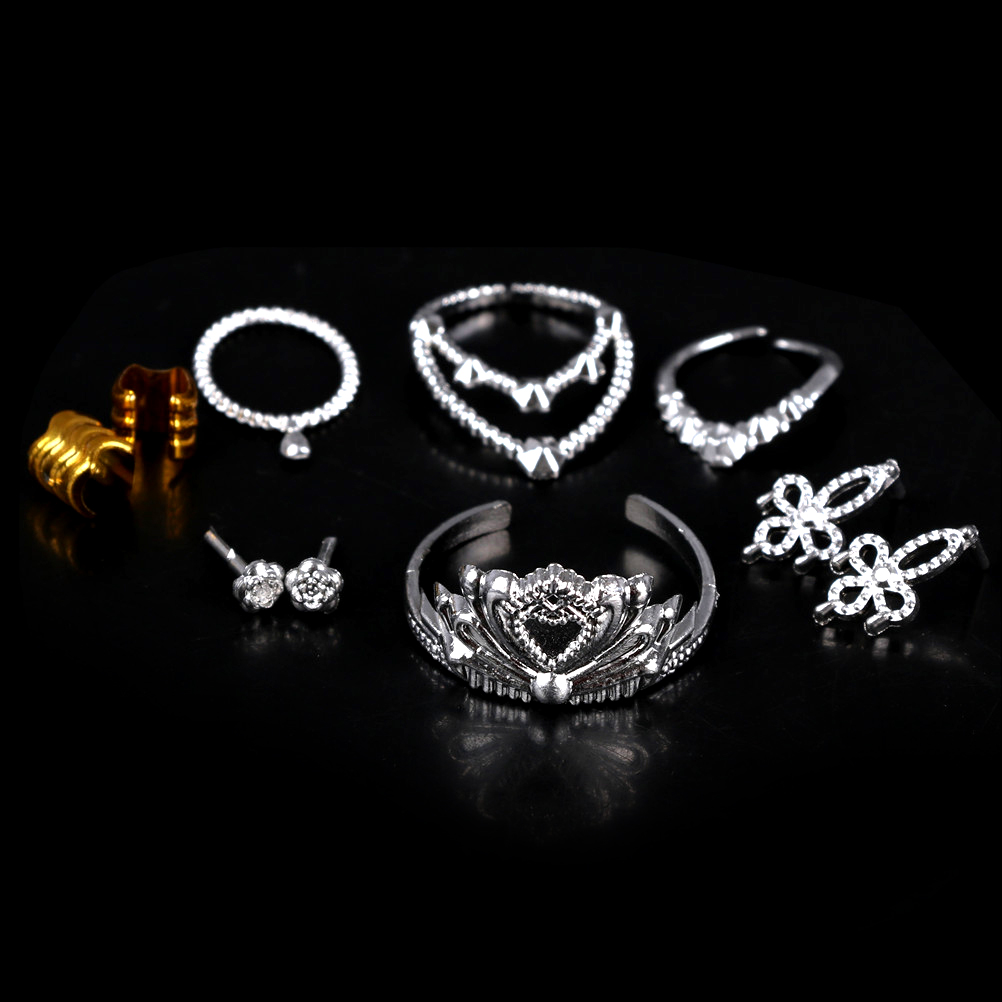 10Pcs/Set Necklace Bracelet For Doll Girls Crystal Plastic Sliver Crown Headband Headwear For Doll Accessories