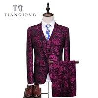 Тянь QIONG Последние Пальто Пант Дизайн смокинг для жениха Красный с цветочным принтом Для мужчин костюмы для выпускного Свадебные best человек