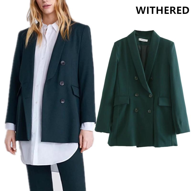 Withered Blazer Feminino England Solid Fashion Blogger Double Breasted Blazer Women Blazer Mujer 2019 Women Blazers And Jackets