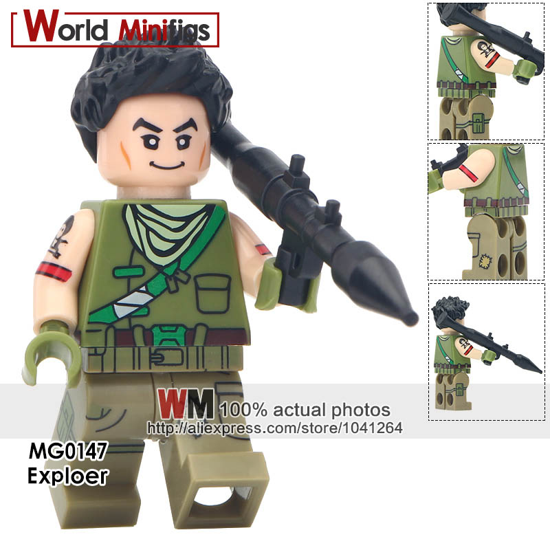 Model Building Blocks Collection Here Building Blocks 20pcs/lot Exploer Tracker Special Solider Raven Battle Royale Action Figures Toys Gifts Kids With Black Weapon