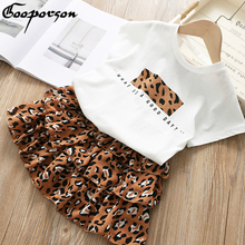 Girls Clothes Set 2019 Summer White Shirt with Leopard Cake Skirt 2 Pieces Sets Little Kids Basic Casula Cotton Clothing Suit