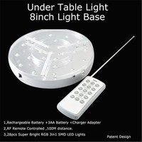 Under Table Lighting Mirrored Center Rechargeable Battery Operated LED Vase Light Base with Remote Control for Wedding Decor