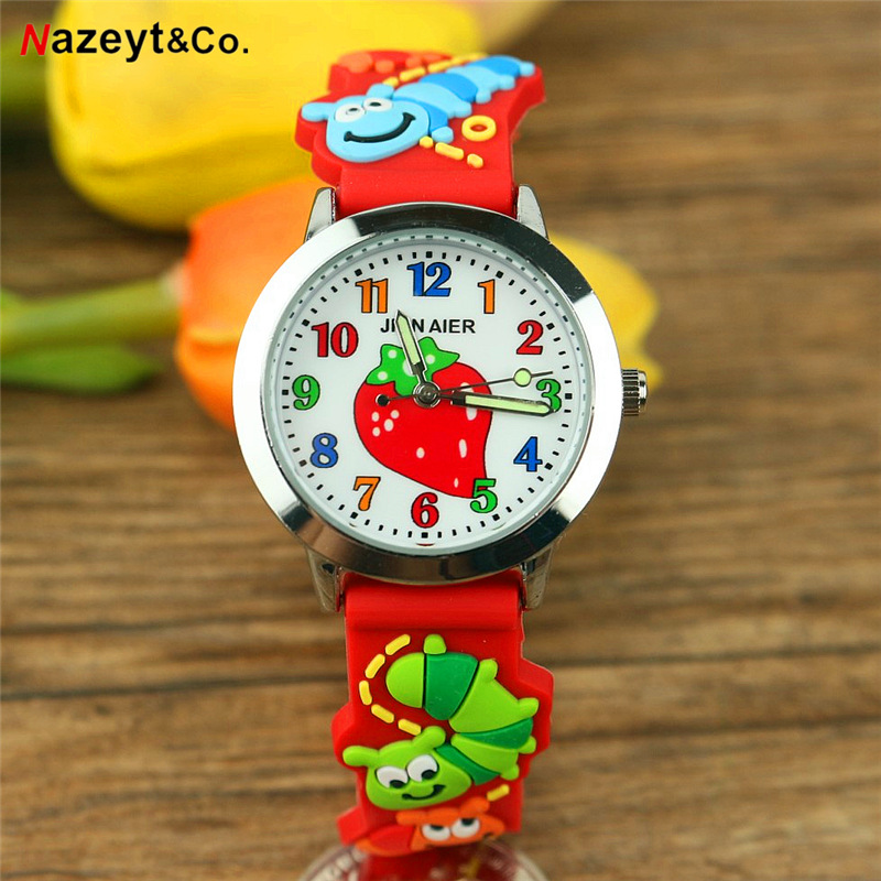 Free Shipping NAZEYT Kids Cartoon Watch Little Boys Girls Sweet Strawberry Face 3D Caterpillar Dial Silicone Strap Quartz Clock